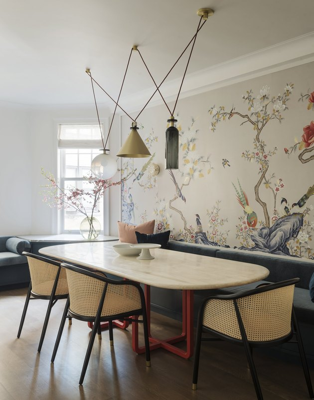 eclectic dining room wall idea with wallpaper mural featuring trees and flowers