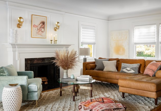 eclectic living room with white walls