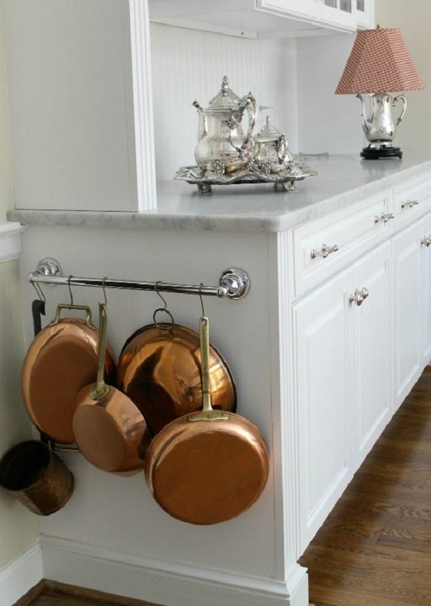 pot storage on side of cabinets