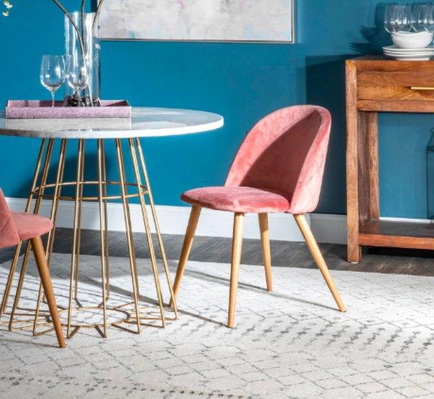 dining room rug idea with oversize rectangular option beneath circular table