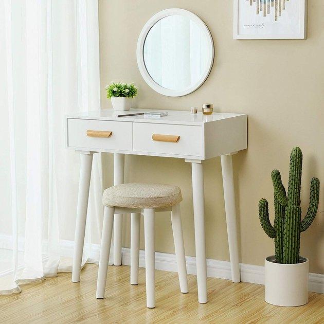 white modern vanity