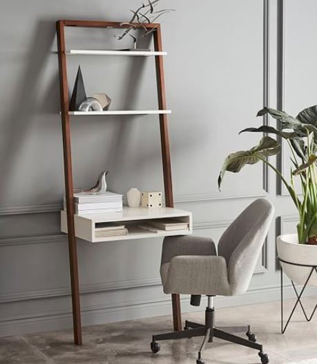 Ladder shelf desk.