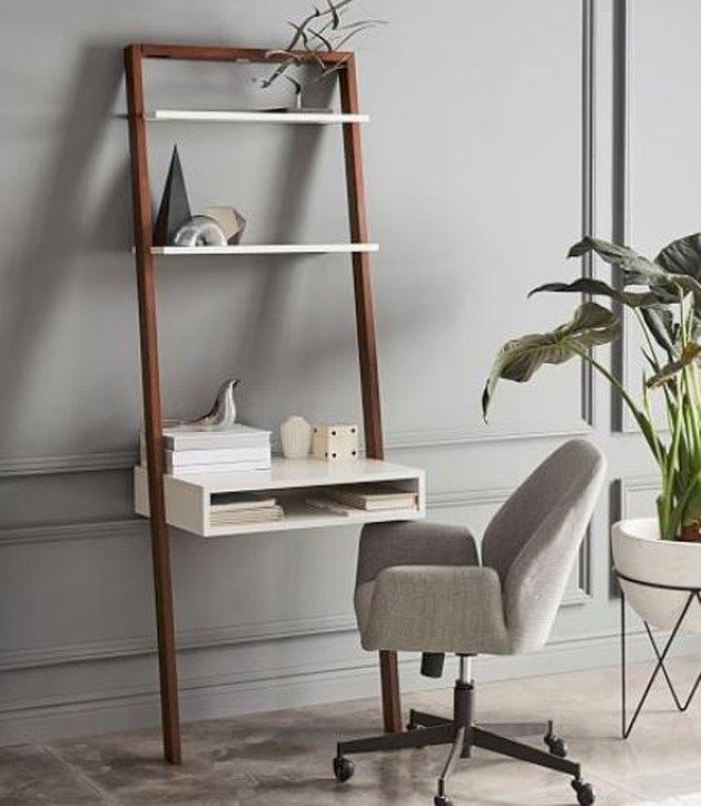 Ladder shelf desk.