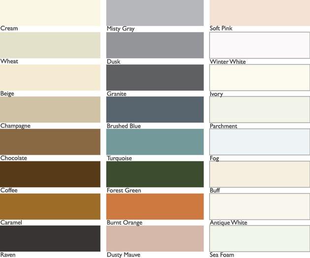 Tile grout color chart.