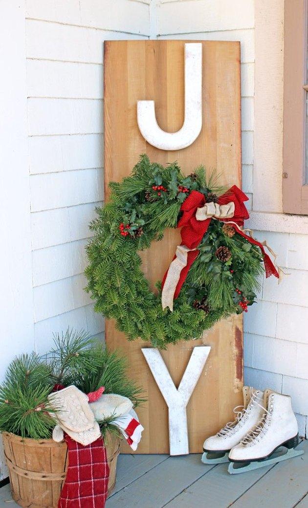 DIY joy Christmas sign DIY and ice skates for DIY Outdoor Christmas Decorations