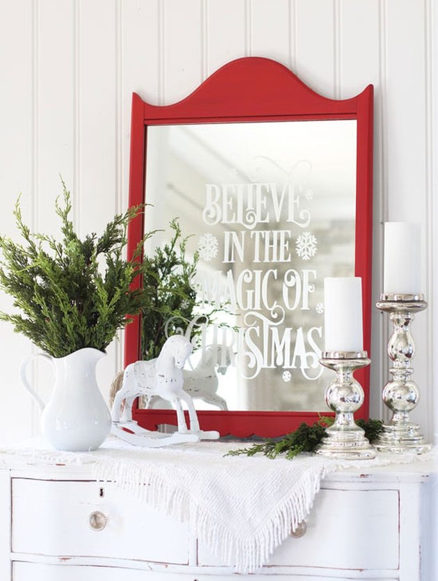 Christmas Crafts for Adults with DIY faux etched Christmas mirror