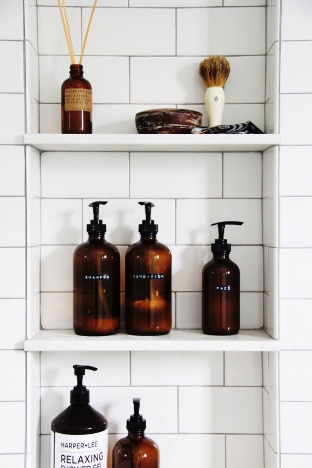 DIY amber shower bottles