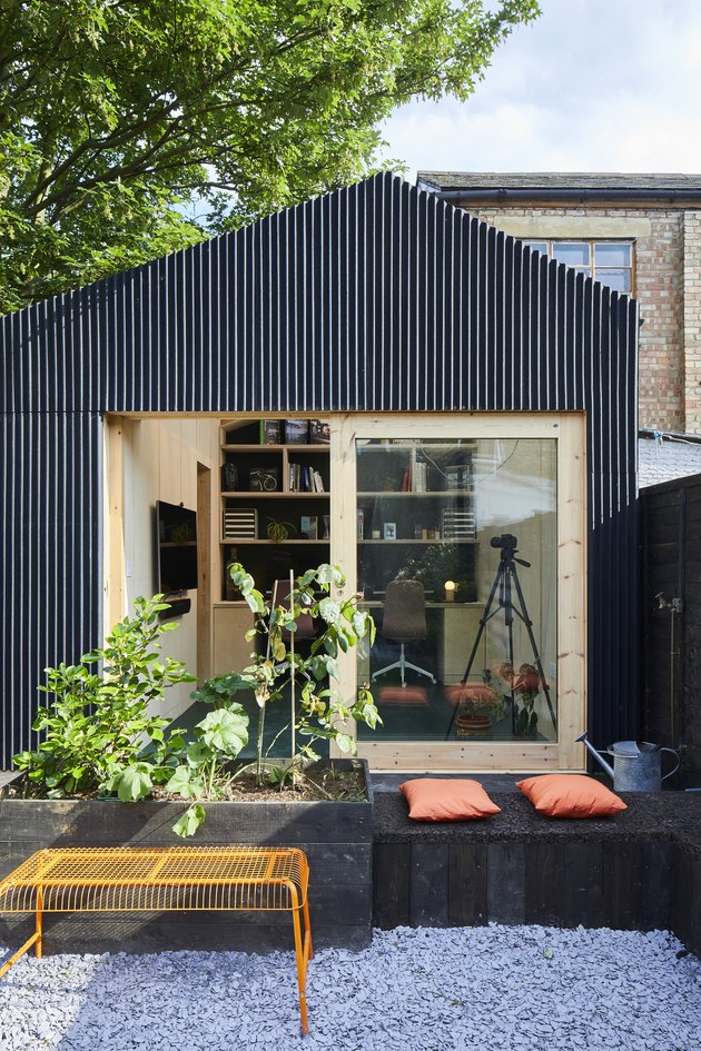 black East London home office shed with glass windows