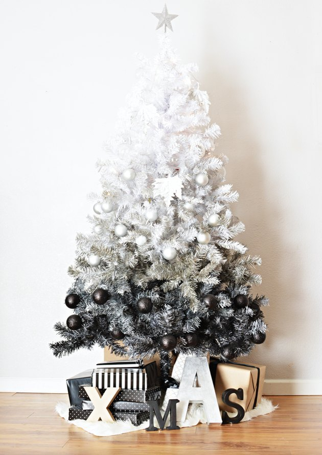 White Christmas Tree Ideas with White and black ombre Christmas tree with presents.