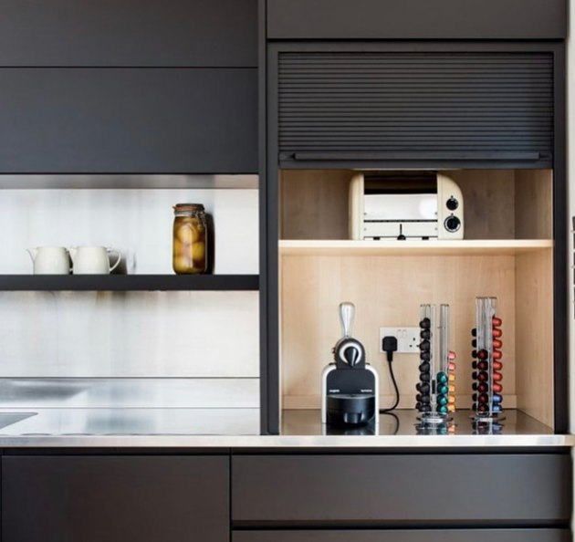 how to organize kitchen cabinet cubby in black contemporary space