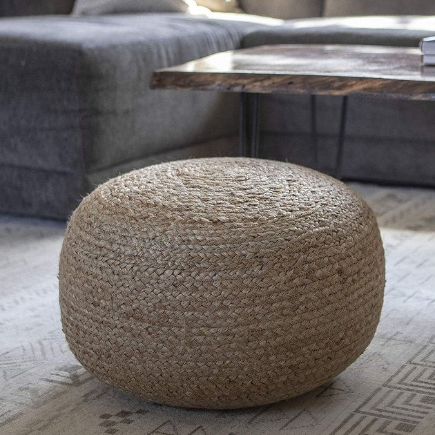 Decor Therapy Natural Jute Woven Round Floor Pouf, $62.19