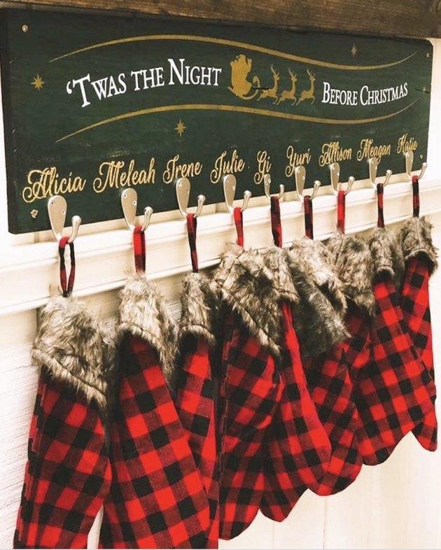 Rustic Christmas stocking holder with plaid stockins