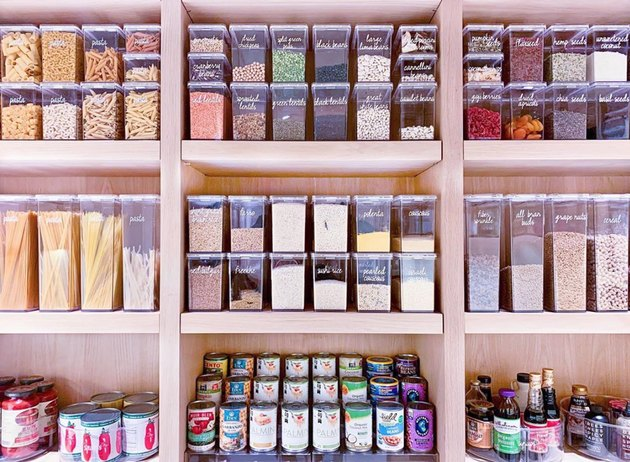 how to organize kitchen cabinet pantry with decanted dry goods