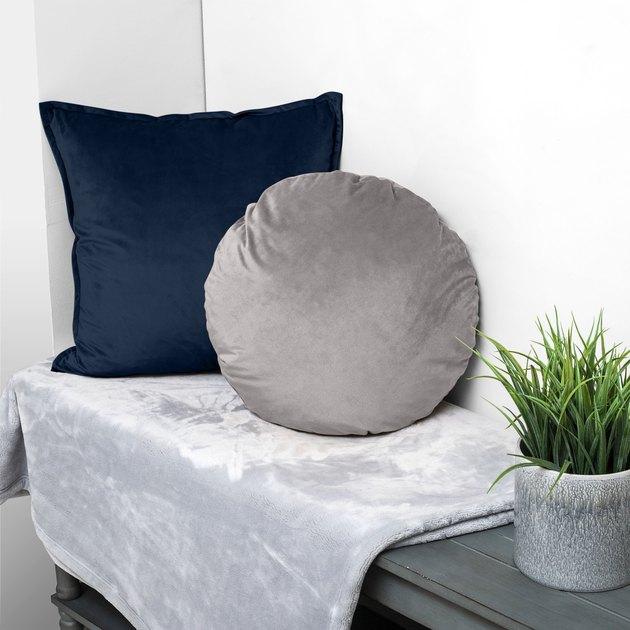 Better Homes & Gardens Feather Filled Velvet Square & Round Decorative Throw Pillows, Indigo & Gray, 2 Piece Set, $24.88