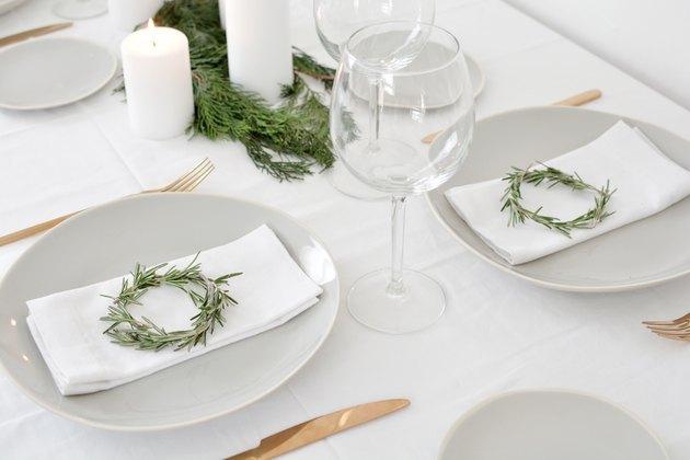 DIY mini rosemary wreaths on place settings