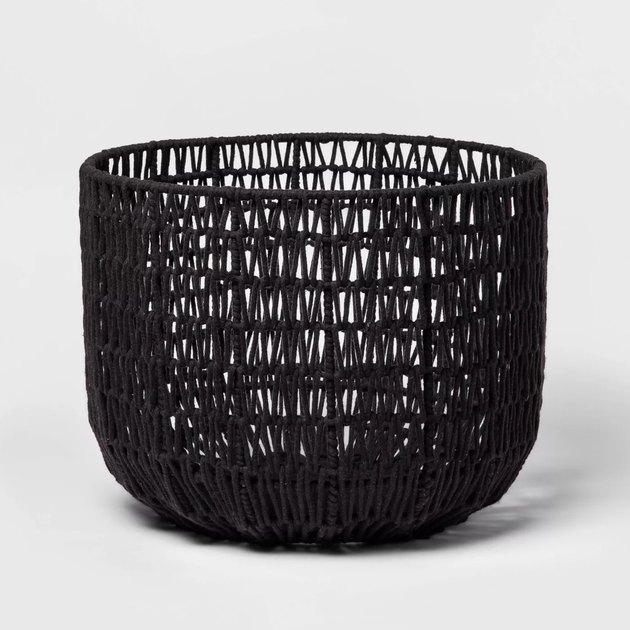 black round woven basket