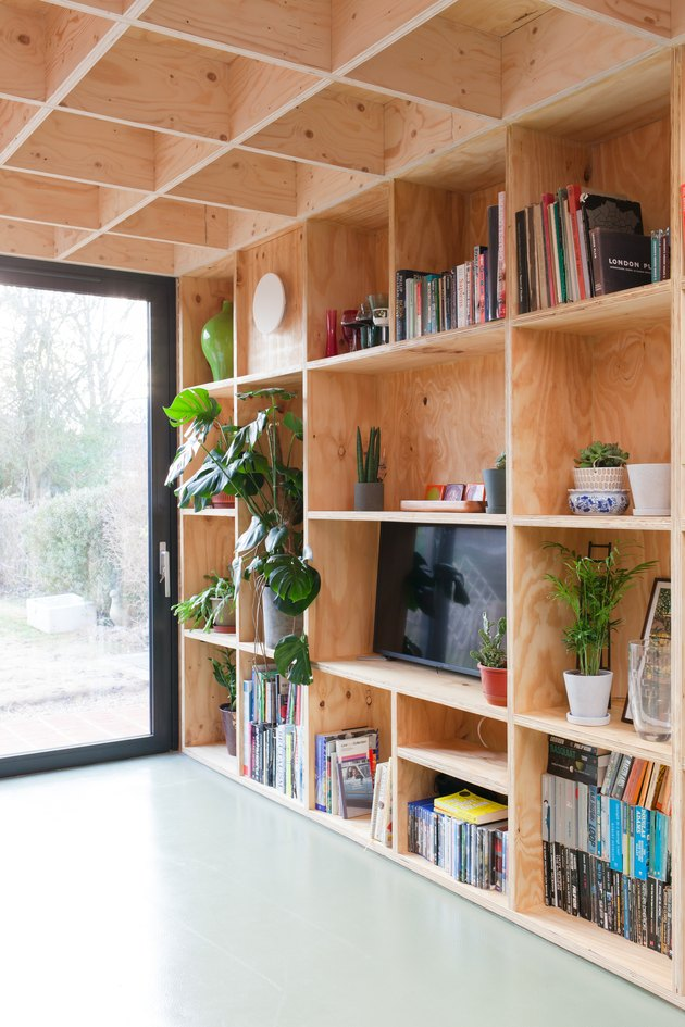 plywood shelf unit in living room