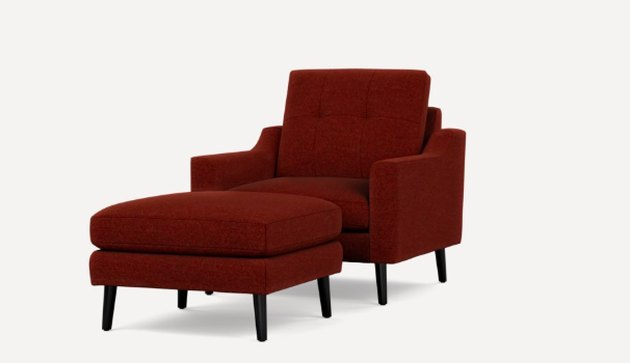 burgundy armchair with ottoman