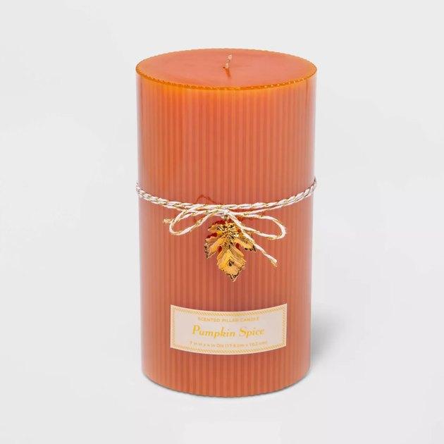 orange pillar candle