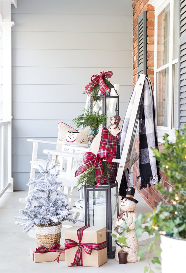 DIY Outdoor Christmas Decorations porch DIY decor with rocking chair by On Sutton Place