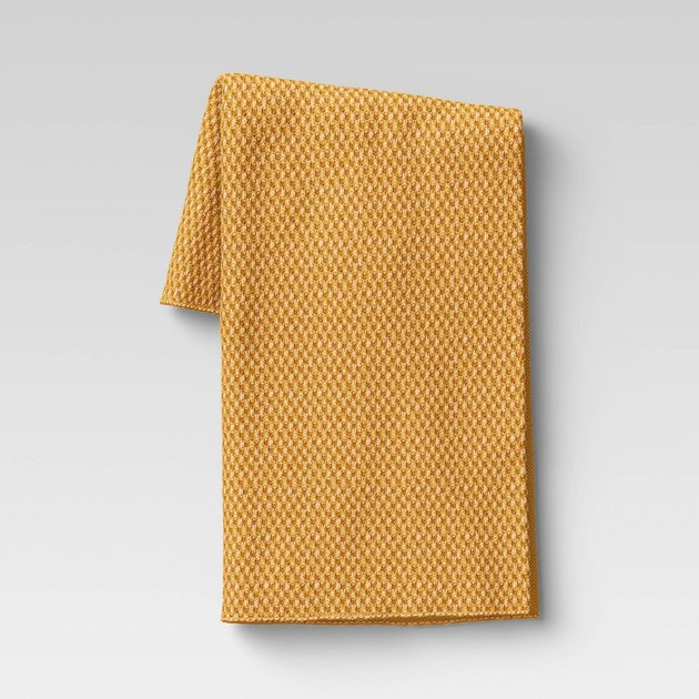mustard colored throw blanket
