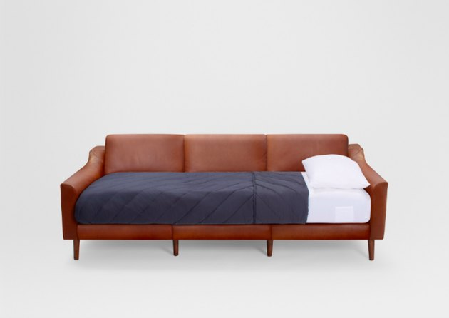 leather sleeper sofa in brown