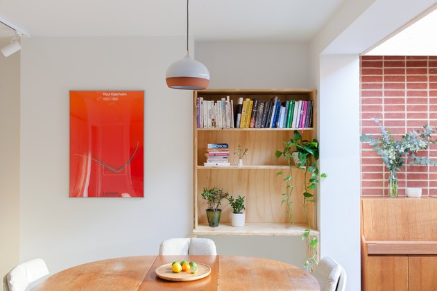 contemporary dining room with pendant light