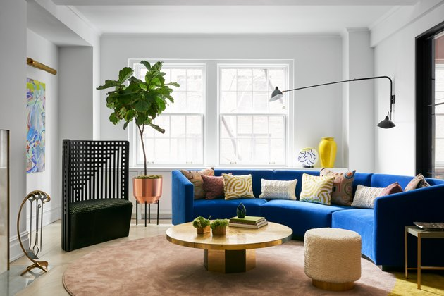 modern living room with blue sofa