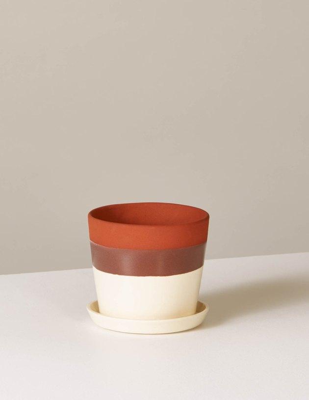 striped ceramic planter