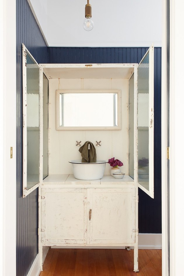 bathroom cabinet idea with repurposed casement cabinet with doors to hide sink