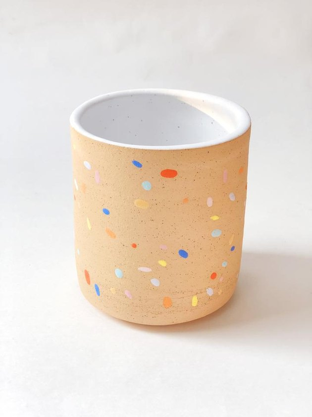 planter with multicolored sprinkle pattern