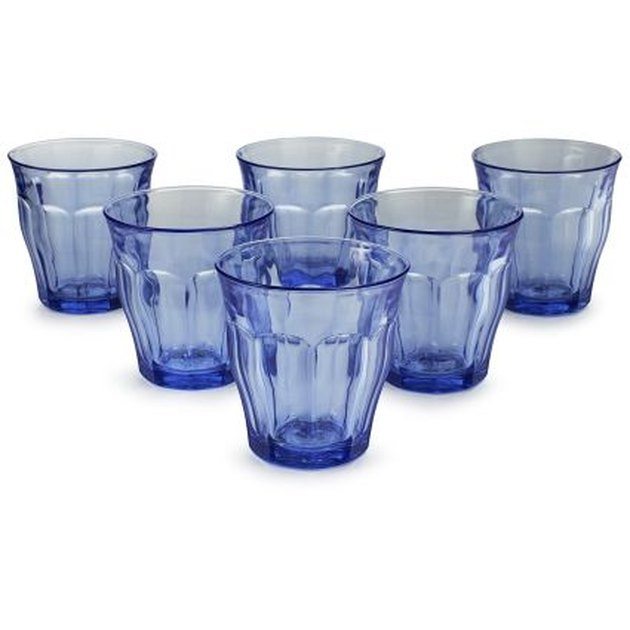 set of six blue tumblers