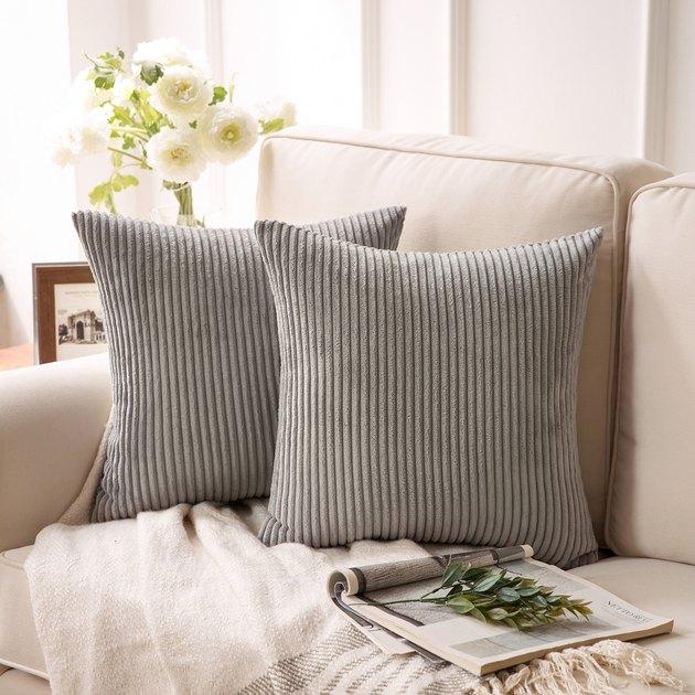 PiccoCasa Corduroy Throw Pillow Covers (2 pack), $16.39