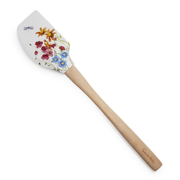 floral white spatula with wooden handle