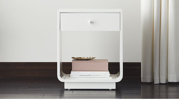 white lacquered nightstand