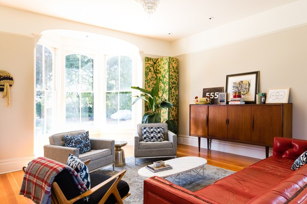 midcentury living room with bay window