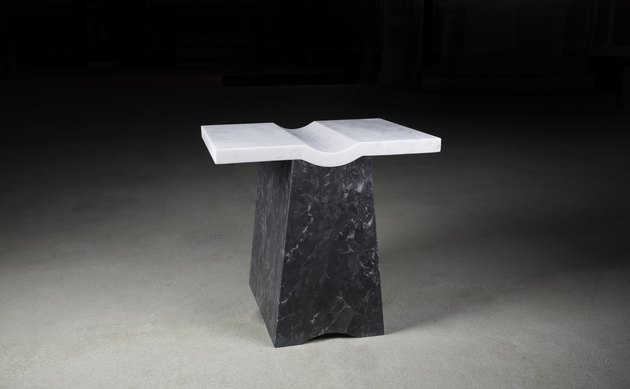 black and white geometric table