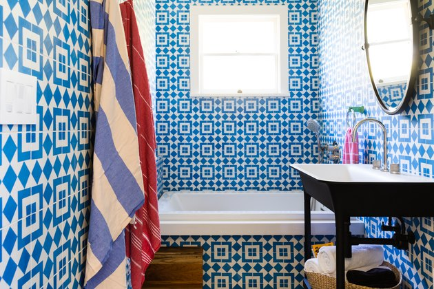bathroom with blue and white moroccan tile