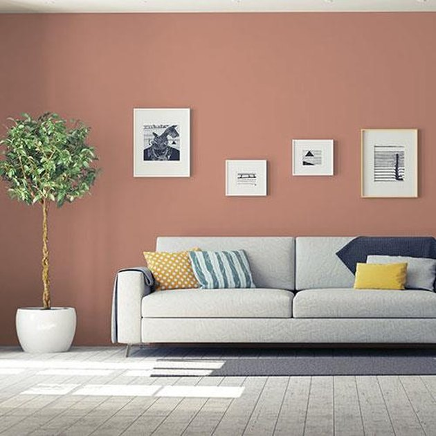 PPG Paints big cypress paint color in living room with coach, picture frames, and plant