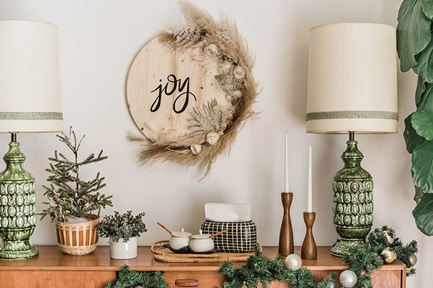 Festive Wood and Floral Holiday Sign