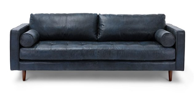 blue leather couch