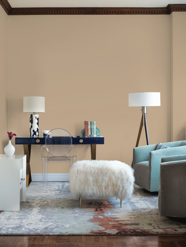 PPG paints transcend paint color in living room with chair, lamp, ottoman, and table