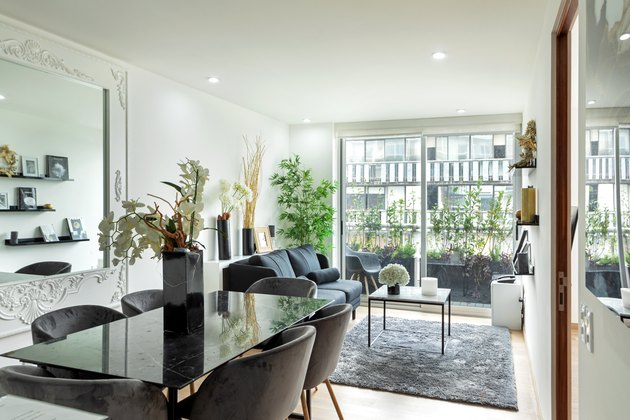 modern apartment living and dining room