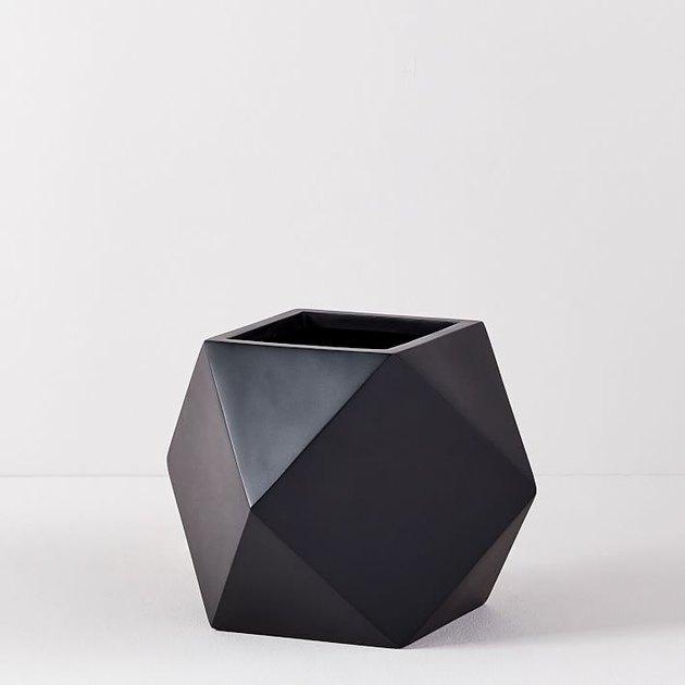 black geometric planter