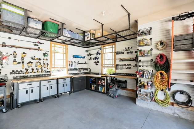 Organized garage shelving by Chris Loves Julia with Garage Wall Shelving Ideas