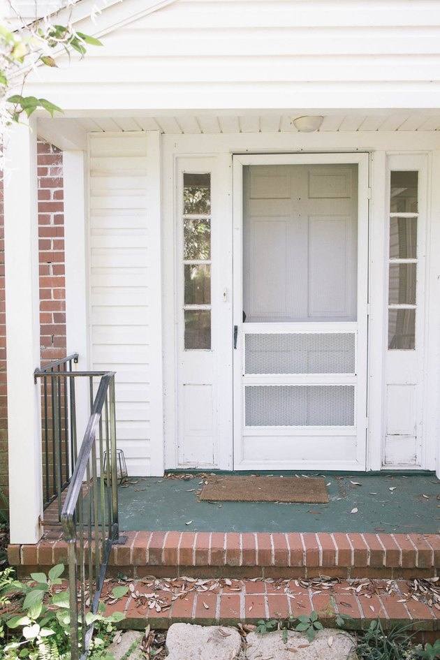 Concrete porch painted hunter green