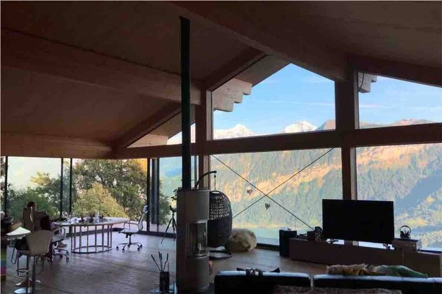 airbnb space with wood ceilings and view of natural landscape