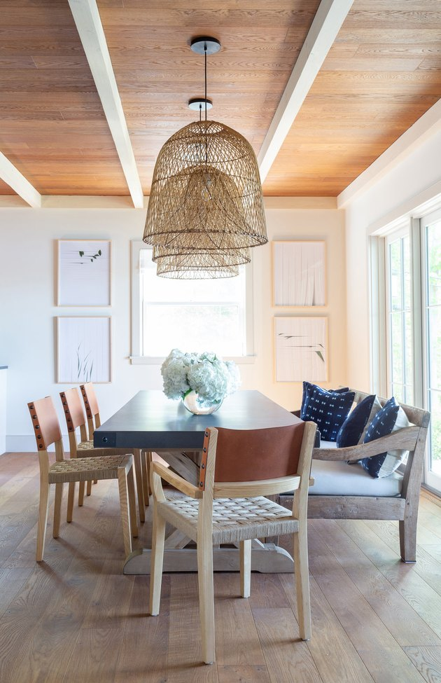 dining room design ideas with rectangular table and pendant lights are used to frame space
