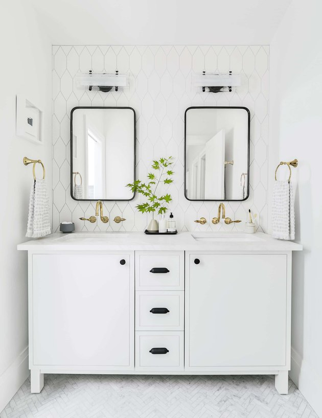 white bathroom cabinet idea with kohler pre-fab vanity