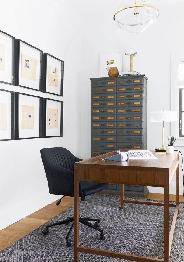 Feng Shui Home Office with vintage and minimal decor and wood desk
